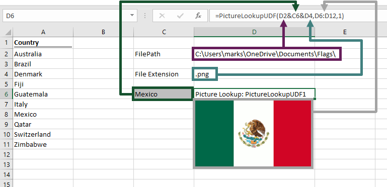 Using the Picture Lookup UDF