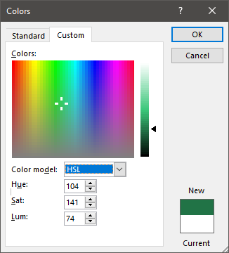 HSL Color mode in color dialog box