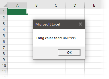 Long color code displayed in msgBox