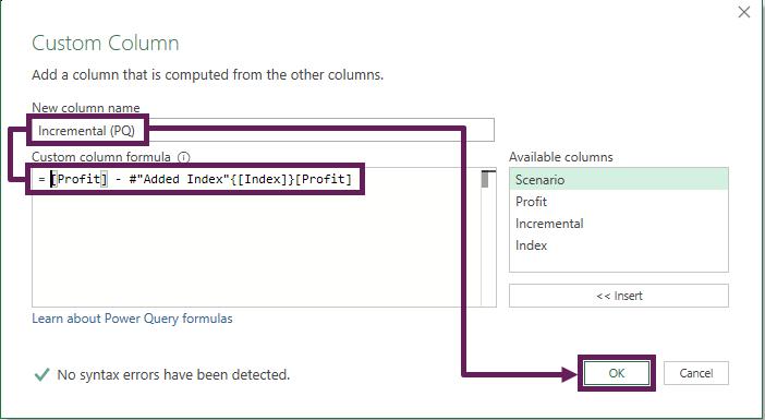 Custom Column containing the added Index column
