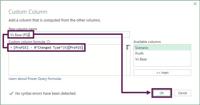 Custom Column dialog box