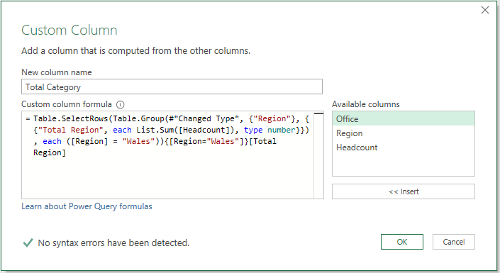 Custom column with M code copied in