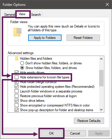 Folder Options - Display File Extentions