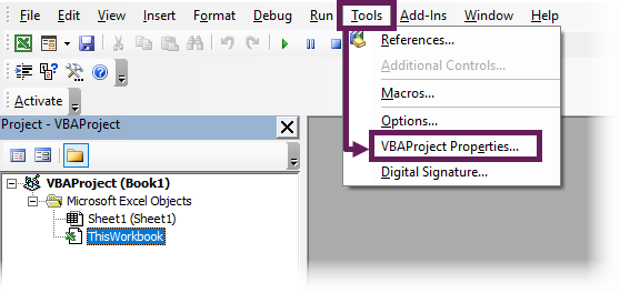 VBA Tools - Project Properties