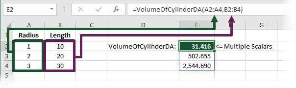 Dynamic array UDF Volume of Cylinder