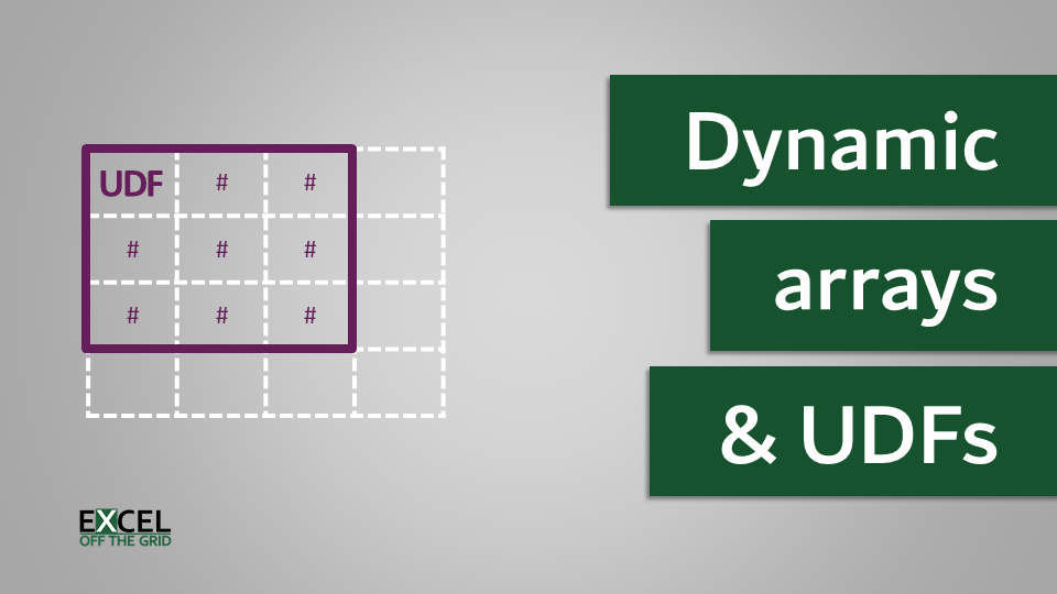 Dynamic arrays and VBA user defined functions (UDFs)