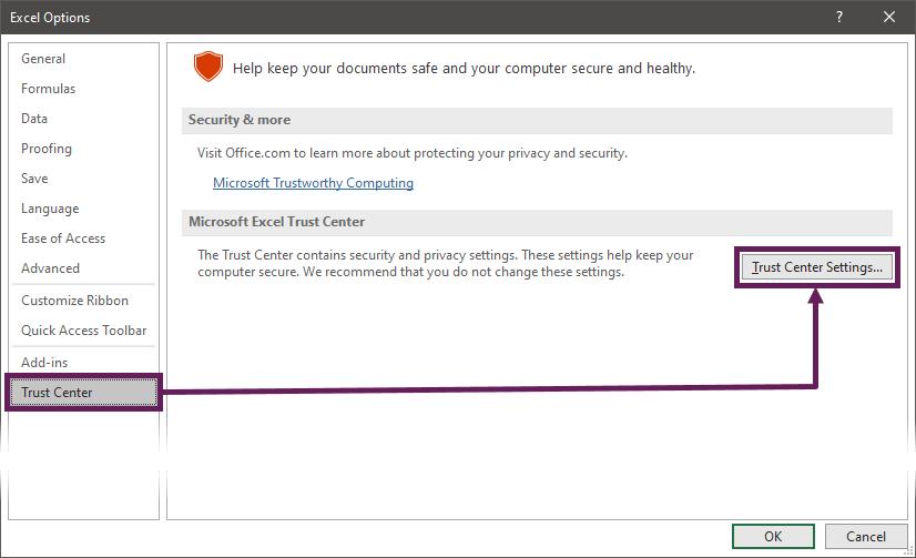 Excel Options - Trust Centre