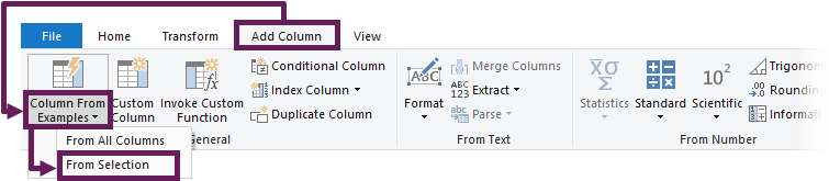 Column From Examples - Selection