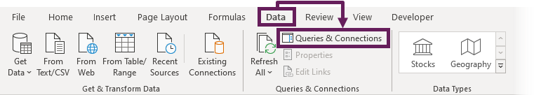 Data Ribbon - Queries & Connections