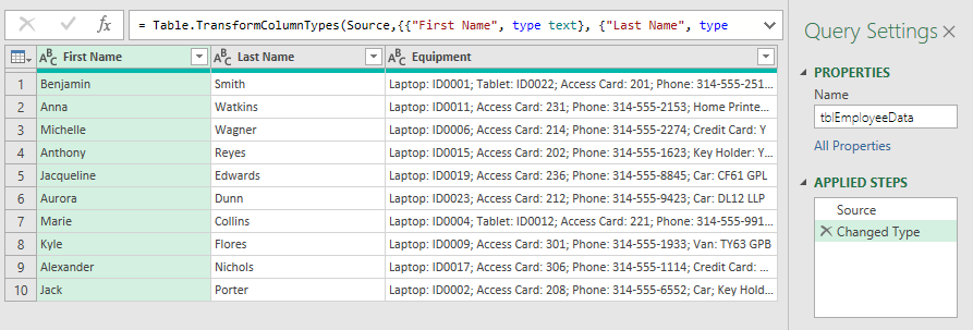 Data loaded into Power Query