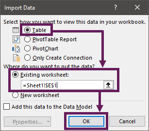 Import Data into same worksheet