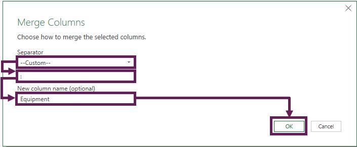 Merge Columns dialog box using Colon space