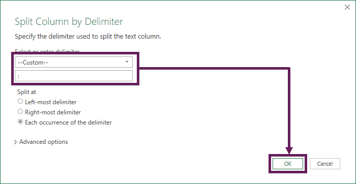 Split Column by Delimiter into columns