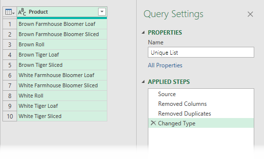 Unique List in Power Query Preview Window