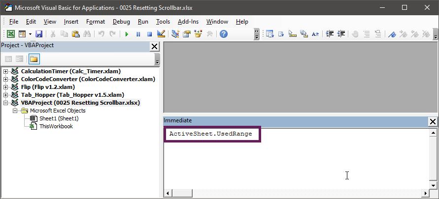 ActiveSheet.UsedRange in Immediate Window - Resetting the Scrollbar