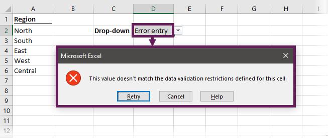 Data validation drop-down error message