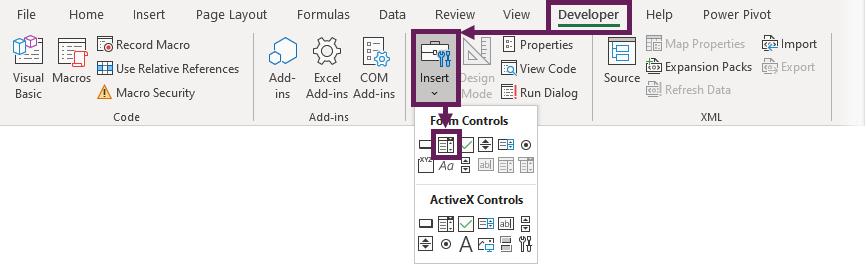 Developer - Insert Form Control Drop-Down
