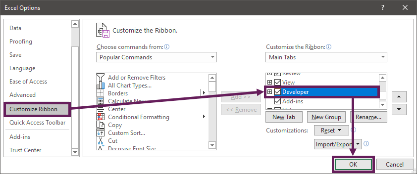 Display Developer Ribbon in Excel Options