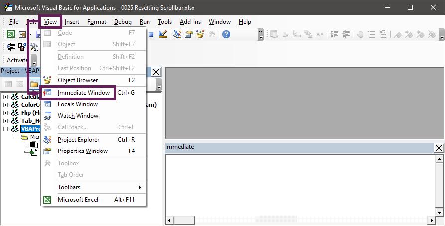 Display Immediate window in Developer tab