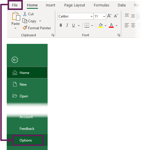 File - Options to Open Advanced Window