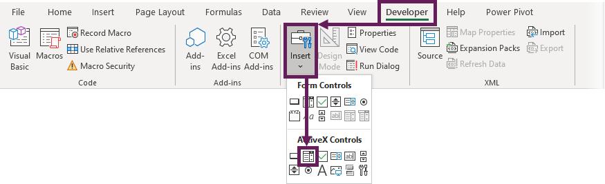 Insert ActiveX Drop-Down
