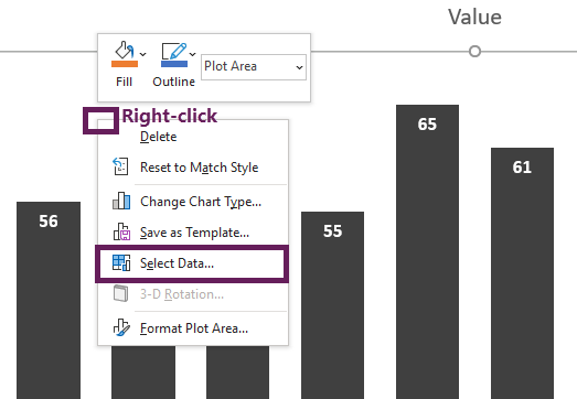 Right click chart then select data