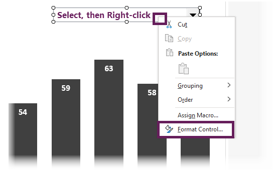 Right-click drop down format control