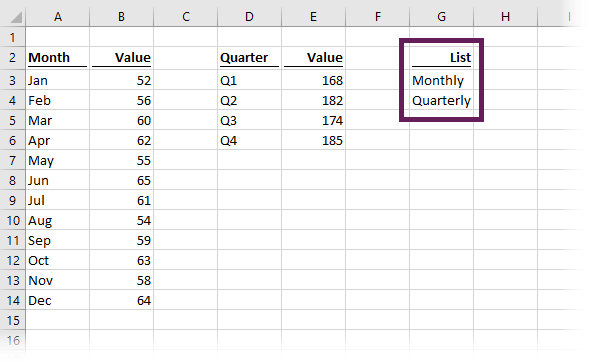 Values for drop-down list