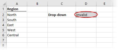 Data validation circle invalid data