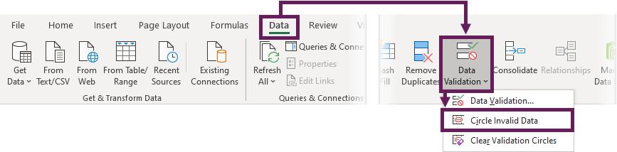 Data validation circles