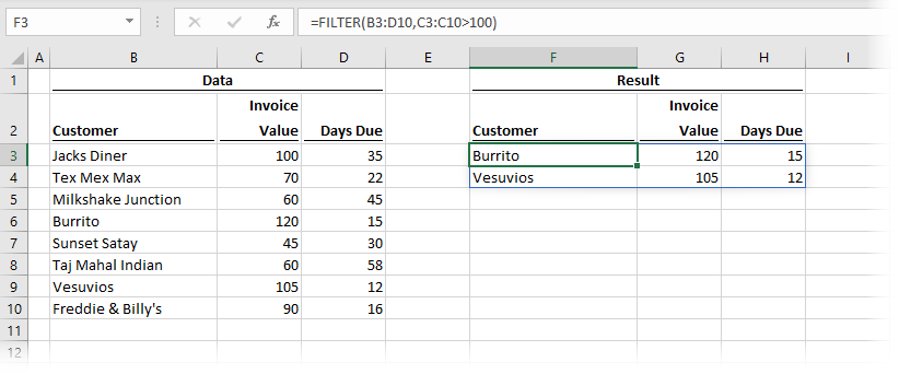 FILTER Function retuns array of rows and columns