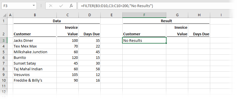 FILTER Function with if_empty argument