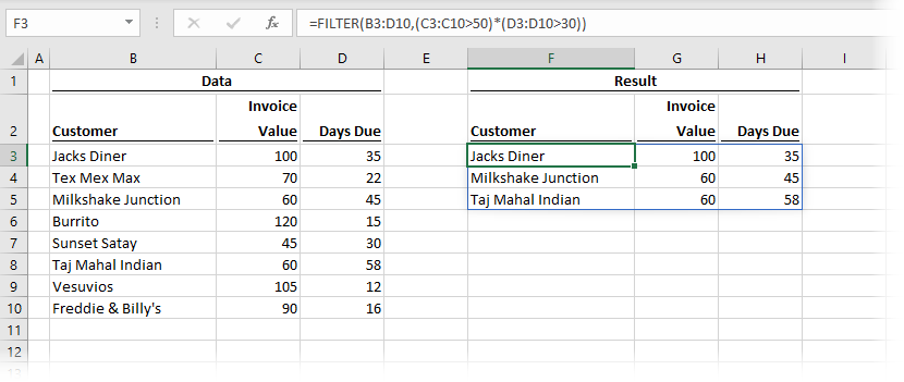 FILTER with multiple AND conditions