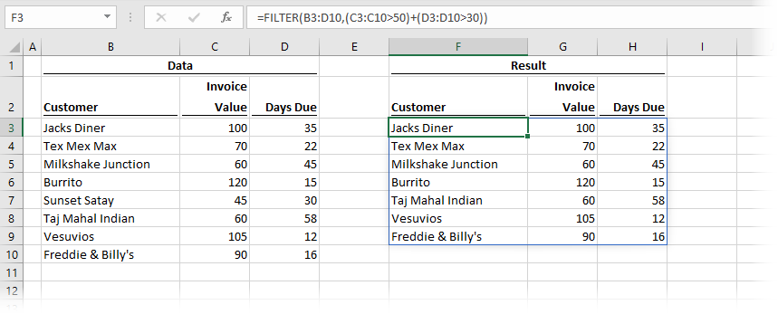 FILTER with multiple OR conditions