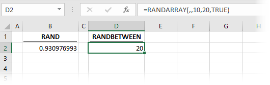 RANDARRAY simulating RANDBETWEEN