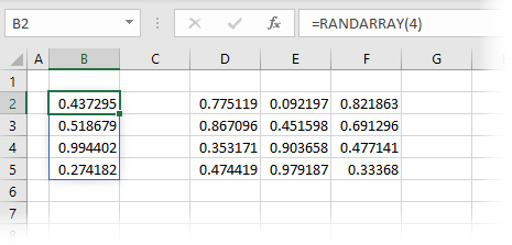 RANDARRAY with rows