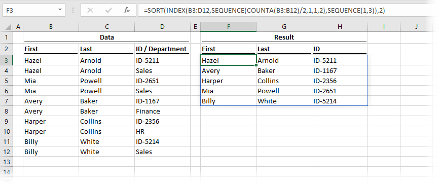 SEQUENCE inside INDEX