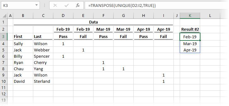 UNIQUE across columns and TRANSPOSE