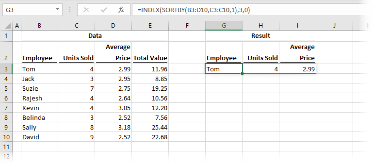Using INDEX to reduce values