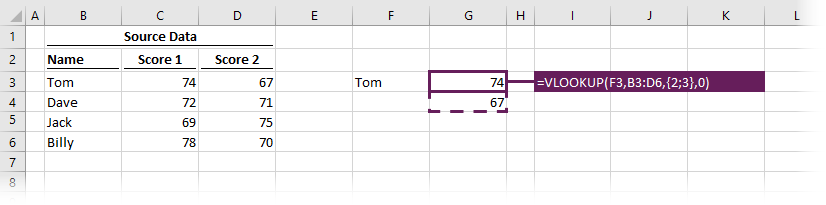 VLOOKUP with constant array - across rows