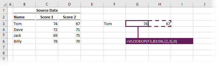 VLOOKUP with constant array