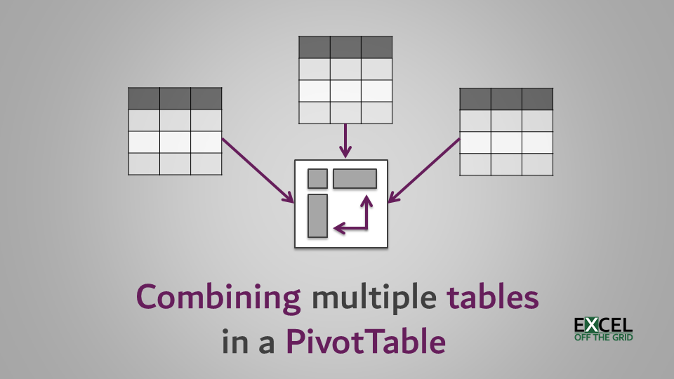 Combining multiple tables in a PivotTable