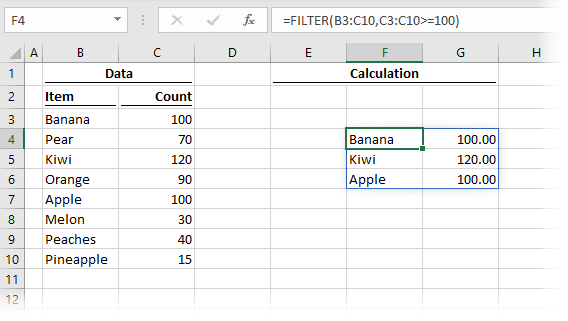 Union Example - Filter Function
