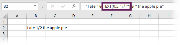 Enter Fraction into a text string
