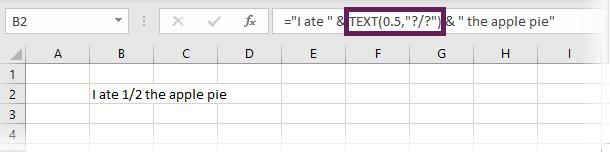 Enter Fraction into a text string