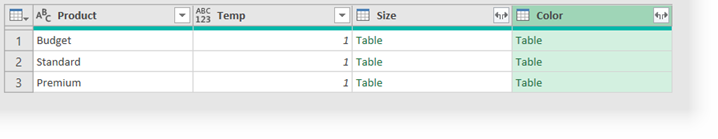 Power Query Preview Window with merged columns