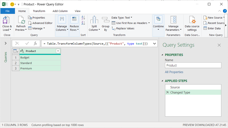 Product Table loaded into Power Query window