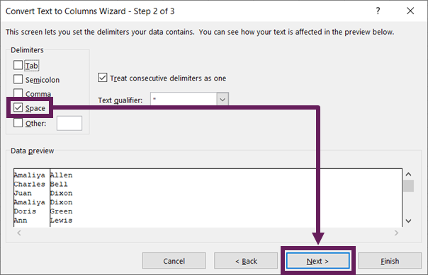 Convert Text to Columns - Step 2 - Space Character