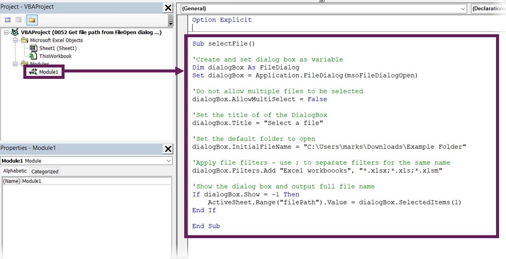 Enter code into code module