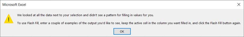 Flash Fill Error